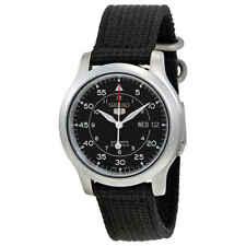 Seiko 5 Black Dial Black Canvas Automatic Men's Watch SNK809