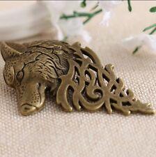UK Seller Bronze Wolf Brooch Lapel Pin Men Gents Suit Style Gift Present