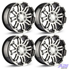 "Set 4 16"" Vision 375 Warrior Black Machined Rims 16x8 5x135 0mm Ford F150 5 Lug"