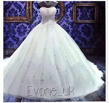 UK Beaded White/Ivory Wedding Dress Bridal  Gown Size 6-18