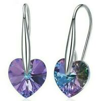 2.00 CT Heart Drop Earrings with Swarovski Crystal in18K White Gold Filled ITALY