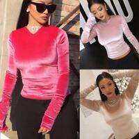 Fashion Womens Slim Fit V Neck Velvet Long Sleeve Blouse Casual Tops T-Shirt NEW
