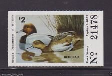 1986 NV-8 NEVADA State Waterfowl Duck Stamp MNH Redheads *
