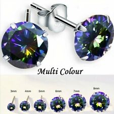 NORTHERN LIGHTS 925 SOLID STERLING SILVER CUBIC ZIRCONIA ROUND STUD EARRINGS
