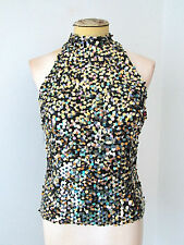 Gold silver black sparkly fish scales paillettes dog collar top blouse M