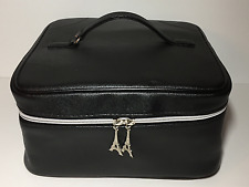 NEW Lancôme Faux Leather Square Cosmetic Bag/Train Case Black with Top Handle