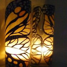 Tall glass Art Work butterfly One Vase & Candle Holder dinner light & gift