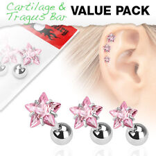 3 Pcs Pink CZ Star Surgical Steel Helix Tragus Cartilage Barbell Stud Earring