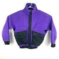 Vintage L.L. Bean Men's Size M Purple Black Fleece Zip Jacket Snaps Pockets 1991