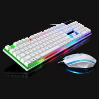 Computer Gaming RGB Keyboard And Mouse LED Colorful Backlit Ergonomic Design US