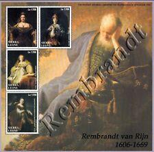MODERN GEMS - Sierra Leone - Rembrandt Paintings - Sheet of 4 - MNH