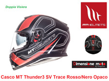 Casco Integrale Doppia Visiera MT Thunder3 SV-Trace Nero/Rosso Taglia XXL 63/64