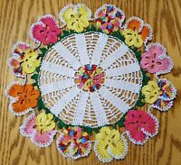Favorite Pansy Doily with Leaves - Sunny Colors and Silver Trim, New
