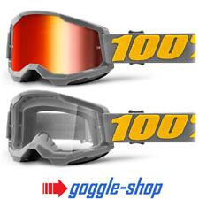 100% STRATA 2 MOTOCROSS MX BIKE MTB GOGGLES IZIPIZI RED CLEAR / MIRROR LENS