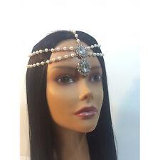 Diamante Pearl Kundan Stone Goddess Head Chain Hair Jewelry Grecian Bridal Boho