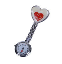Enfermera Con Clip De Bolsillo Broche Colgante Corazon Reloj Cuarzo Nuevo