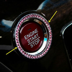 1* Car SUV Decorative Pink Button Start Switch Diamond Ring Auto Accessories