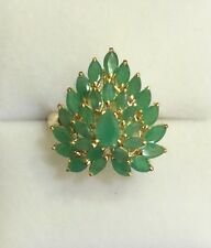 14k Solid Yellow Gold Cluster Ring with Natural Emerald Pear&Marquise3.3CT3.92GM
