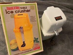 Vintage SWING AWAY Ice Crusher Manual Hand Crank Retro Original Box!