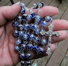dark blue/clear crackle glass rosary catholic handmade crystal prayer bead tibet