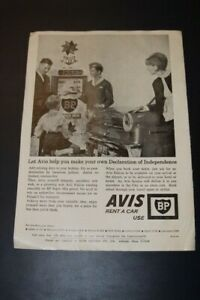 Travelodge Avis and BP Page Advert 1960s with rear of Ford Falcon
