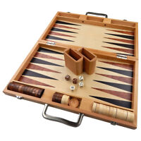 Duko Backgammon LARGE 17 Inch Game Set, Inlaid Wood Suitcase Board Pieces, New