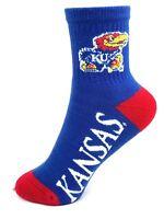 Kansas Jayhawks NCAA Youth Deuce Blue and Red Quarter Socks