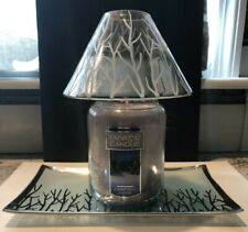 YANKEE CANDLE SCAPING FOREST GLOW JAR SHADE AND PLATE TRAY SILVER