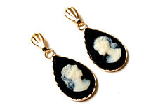 9ct Gold Black Cameo Teardrop earrings Gift Boxed Made in UK