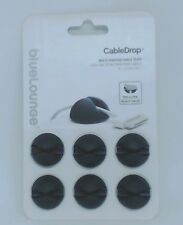#534  NEW Bluelounge CableDrop Cable clips Black - Multi Purpose   6- pack