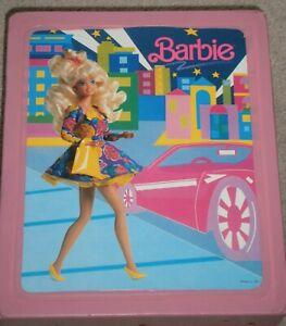 NICE! VINTAGE 1989 MATTEL BARBIE DOLL Carrying CASE / TRUNK w/ BARBIE on FRONT