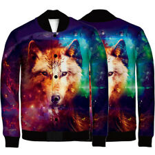 Winter Coat Men Baseball Jacket Sweatshirt Casual Sport Top Wolf 3D Printed 5XL