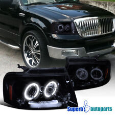 For 2004-2008 Ford F150 LED Halo Rims Smokey Projector Headlights Glossy Black