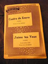 Partition cuatro de Enero Manola J'aime tes yeux Martin Music Sheet