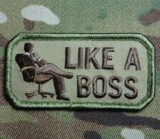 LIKE A BOSS TACTICAL ARMY MORALE USA ISAF MILITARY BADGE MULTICAM VELCRO PATCH