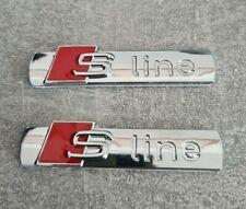 2x Audi S-Line Emblem Schriftzug Logo CHROMEmblem Selbstklebend