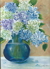 Pretty blue vase of hydrangeas print reproduction of my original painting