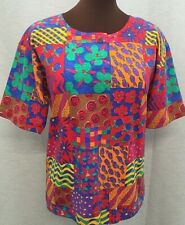 "KEN DONE Australia Art to Wear Top  S/42"" Cotton Red Blue Green Yellow Print"