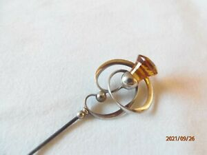 Charles Horner Large Hat Pin with Citrine and Long Pin (31cm) - Chester 1923
