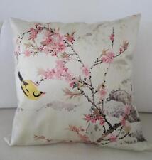 Hummingbird Pink Cherry Blossoms Faux Silk Cushion Cover 45cm Home Decor