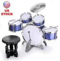 Kids Blue Drum Set Complete Junior Kit 5 Drums + Cymbal +Stool +Sticks Xmas Gift