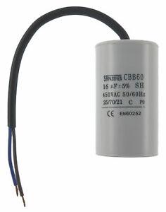 Condensateur moteur 16µF MKSP-5P 16uF 450V à fils câble démarrage/permanent