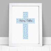 Personalised Word Art Cross Print Baby Girl Boy Baptism Christening Frame Gift