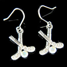 Hockey Stick Puck~ made with Swarovski Crystal Charm Earrings Team Sports Girls