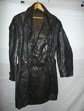 zg8 WWII German Leather Overcoat Size 34 Length 40