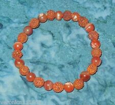 Genuine Rudraksha Carnelian Beads NEW Stretch Bracelet Healing Pregnant Mothers