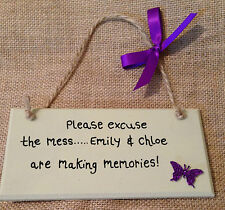 Personalised Wooden Plaque Gift Home Children Handmade ..'excuse the mess..' mum