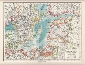 1921 MAP ~ BALTIC SEA ~ SEA DEPTHS LATVIA SWEDEN GERMANY FINLAND