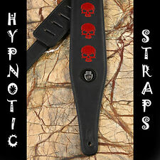 HYPNOTIC BLACK RED CRANIUMS EMBROIDERY GUITAR BASS ACOUSTIC STRAP PADDED BELT