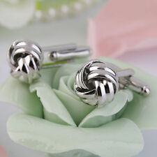 Stainless Steel Cufflinks Vintage Knot Twist Cuff Links Men's Wedding Gift D#JV